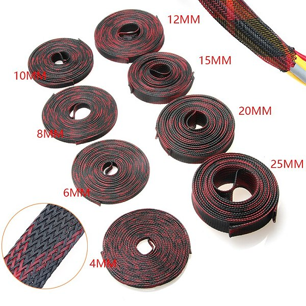 5/10M 2/4/6/8/10/12/15/20/25mm Insulation Braided Sleeve Tight PET Expandable Cable Sleeves Wire Gland Cables 9 Sizes