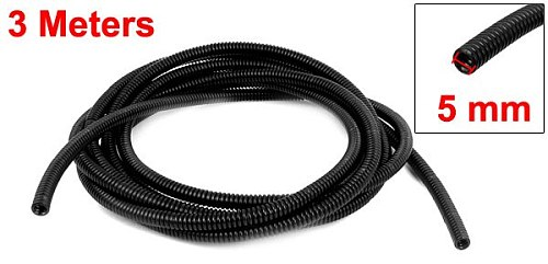 UXCELL Hot Selling 3 Meters Length 5mm Inner Dia 7mm Outer Dia Black Flexible Insulated Corrugated Conduit Tube Wire Tubing Hose