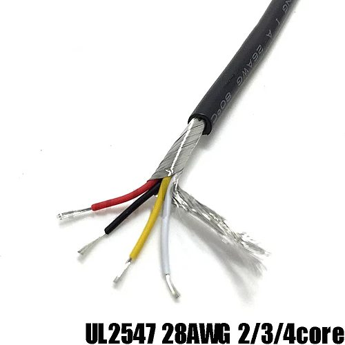 2M UL2547 28AWG 2 core 3 core 4 Cores PVC Shielded Signal Wire Black Headphone Cable Cord Signal Audio Shielding Cable