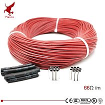 6k 66ohm silicone rubber carbon fiber heating cable 5V-220V floor heating low cost high quality infrared heating wire