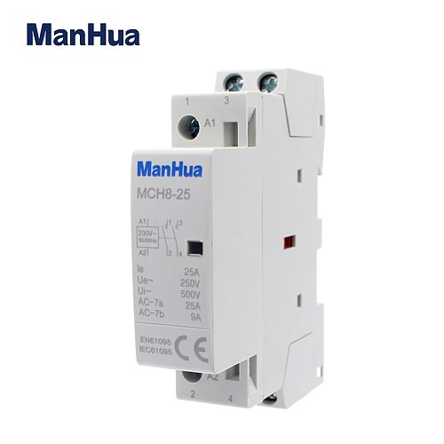 2P 25A 35mm Din rail AC220-240V 2NO no noise quite steam roon single phase 3 years warranty long using life Modular Contactor