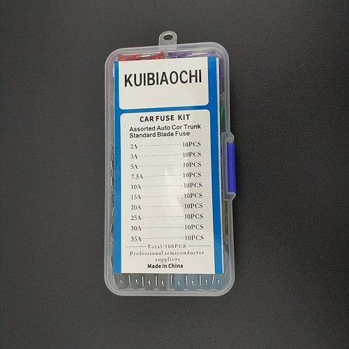 100pcs/lot medium blade fuses car,Standard Car fuse auto fuse car with box 2A 3A 5A 7.5A 10A 15A 20A 25A 30A 35A Free Shipping