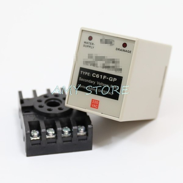 C61F-GP AC 220V 50/60 Hz 8 Pin Liquid Floatless Water Level Switch Relay Controller With socket PF083A/PYF083A Base