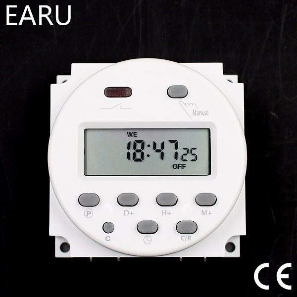 CN101A Timer Switch AC/DC 12V 24V 110V 120V 220V 230V 240V Digital LCD Power Week Mini Programmable Time Switch Relay 8A to 16A