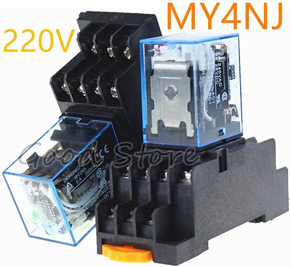 1SET MY4NJ  Intermediate Relay MY4N-J AC 220V DC 12V 5A 14 Pin With Base 828 Promotion