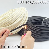 5/10M Fiberglass Tube 1mm ~ 25mm HTG Cable Sleeve Soft Chemical Fiber Glass Wire Wrap Protector Insulation High Temperature Pipe