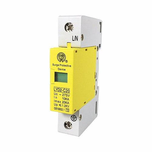 C20-1P 10KA~20KA ~275V 385V 420V AC SPD House Surge Protector Protective Low-voltage Arrester Device Lightning protection