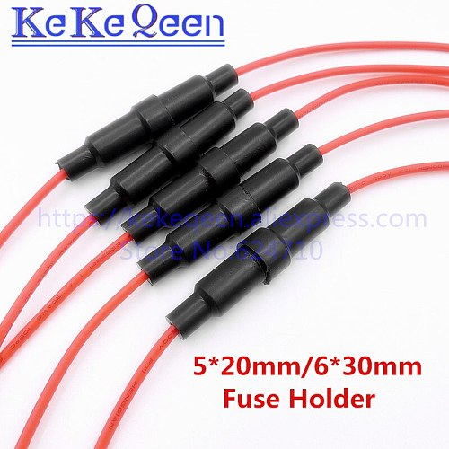 10pcs Home Protection Inline Fuse Holder Copper Wire Components 5*20 6*30 10A 220V Fuse Seat Belt Line Full Copper Strip Spring