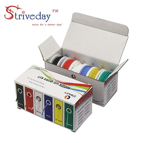 20AWG 36m Flexible Silicone Rubber Cable Wire stranded wires Tinned Copper line Kit mix 6 Colors Electrical Wire DIY