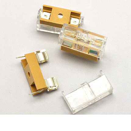 10pcs 5*20mm glass fuse transparent holder with transparent cover fuse blocks 5X20mm insurance header