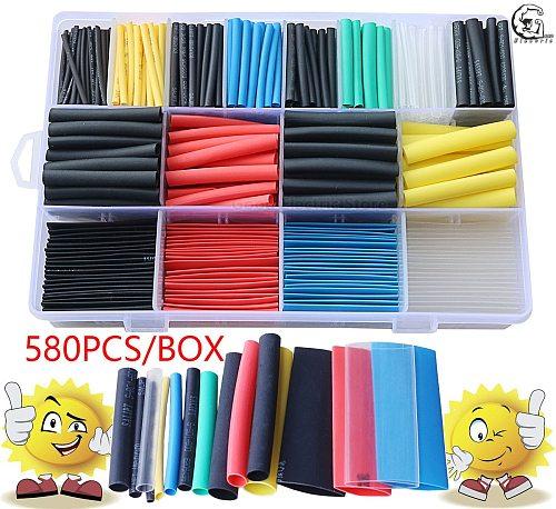 580pcs 530pcs 260pcs 2:1 Wrap Wire Cable Insulated Polyolefin Heat Shrink Tube Ratio Tubing Insulation Shrinkable Tubes