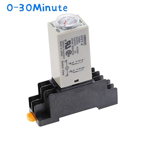 1pcs H3Y-2 Delay Timer Time Relay  AC220V 110V/DC12V 24V  0 - 30 Minute with Base 5A