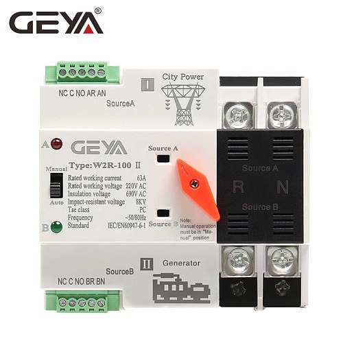 GEYA  Mini ATS 2P Automatic Transfer Switch Electrical Selector Switches Dual Power Switch ATS 16A 20A 25A 32A 40A 50A 63A 100A