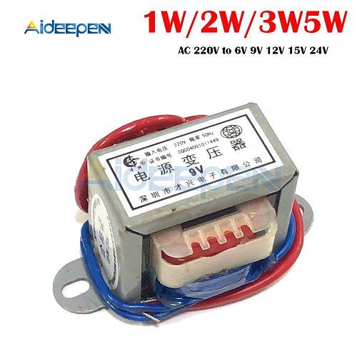 AC 6V 9V 12V 15V 24V Output Voltage 1W 2W 3W 5W EI Copper Core Input 220V 50Hz~60Hz Single Voltage Copper Power Transformer