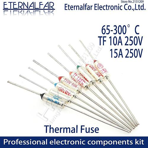 TF Thermal Fuse RY 10A 15A 250V Temperature Control Thermostat Switch 65 70 73 77 80 85 90 95 100 105 110 113 115 120 C Degree