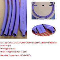 2:1 1mm-50mm Purple Heat Shrink Tubing Insulation Shrinkable Tube Electronic Polyolefin Wire Cable Sleeve Heat Shrink Tube