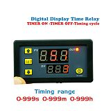 Timer Delay Relay Module Dual Digital LED Display Time Switch 0-999s 0-999m 0-999h Adjustable AC 220V
