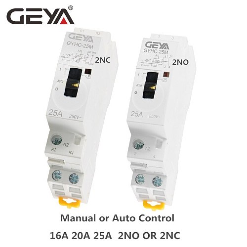 GEYA Manual Control Household Contactor Din Rail Type Modular Contactor 2P 16A 20A 25A 2NO or 2NC 220V