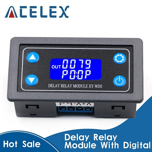 DC12V LED Digital Time Delay Relay Module Programmable Timer Relay Control Switch Timing Trigger Cycle with Case for Indoor