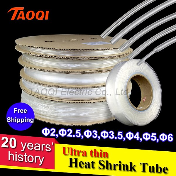1Meter/lot 2:1 Transparent Clear Heat Shrink Tube 2mm 3mm 3.5mm 4mm 5mm 6mm 8mm 10mm 12mm Heatshrink Tubing Sleeving Wrap Wire