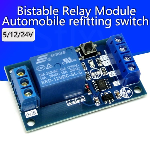 Bistable Relay Module 5V/12V Single Button Relay Module One Key Car Modification Start-Stop Self locking Car Modification Switch