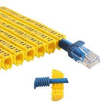 Plastic cable marking clip m-0 m-1 m-2 m-3 alphabit cable marking AZ cable size 1.5 SQMM yellow cable insulation cable marking