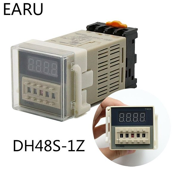 High DH48S-1Z Digital LED Programmable Timer Time Relay Switch DH48S 0.01S-99H99M DIN RAIL AC110V 220V DC 12V 24V Socket Base