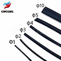 5M/lot Black heat shrink tube 2:1 1/2/3/4/5/10mm Diameter heat-shrink tubing Wire Cable Protection Cable Sleeve Wire Gland Wrap