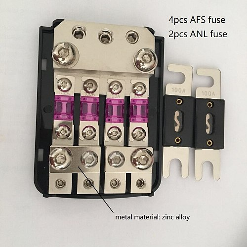 Frosted Shell Nickel Plated 12V 48V AFS Fuse Holder Mini ANL Fuse Holder with Fuses for Car Audio