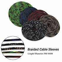 Dropship 5M Insulation 4mm Braided Sleeve Tight PET Expandable Cable Sleeves High Density Sheathing Wire Gland Cables Protection