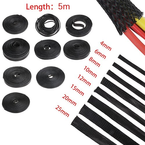 5M Black Insulation Braided Sleeving 4/6/8/10/12/15/20/25/30mm Tight PET Expandable Cable Sleeve Wire Gland Cables Protection