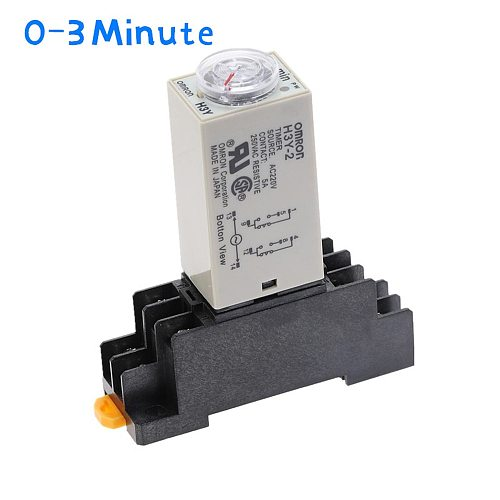 1pcs H3Y-2 Delay Timer Time Relay  AC220V 110V/DC12V 24V  0 - 3 Minute with Base 5A