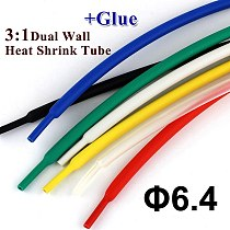 1meter/lot 6.4mm Dual Wall Heat Shrink Tube thick Glue 3:1 ratio Shrinkable Tubing Adhesive Lined Wrap Wire kit high quality