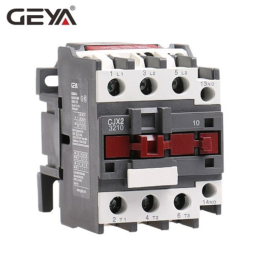 GEYA Din Rail Magnetic Contactor CJX2-2510 3210  3Phase Contactor 1NO 25A 32A 220V or 380VAC  LC1D Contactor Silver Contact