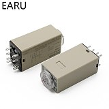 1pcs H3Y-2 AC 220V Delay Timer Time Relay Switch 0 - 30 Minute/Seconds Adjustable 5A With Base Socket Rotary Knob DPDT