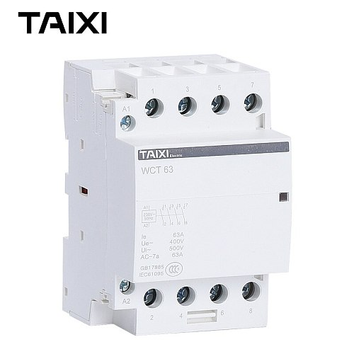 AC-Contactor WCT-63A Din-rail-Household 1NO 1NC 2NO 2NC 4NO 4NC 220V 230V 240V 250V Motor Controler
