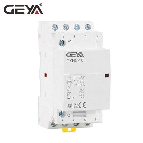 GEYA GYHC 4P 16A 20A 25A 220V/230V 50/60HZ Din rail Household AC Modular Contactor 4NO OR 2NO2NC