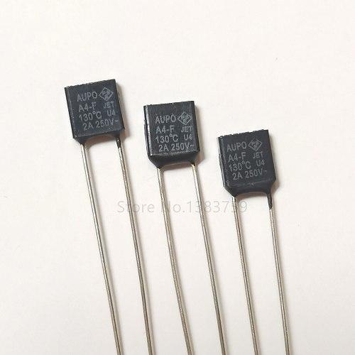 20pcs AUPO Square Thermal Fuse A4-F 130 degrees 2A 250V RH130