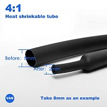 1meter 4:1 4/6/8/12/16/20/24/32/36/40/52mmHeat Shrink Tube with Glue Adhesive Lined  Dual Wall Tubing Sleeve Wrap Wire Cable kit