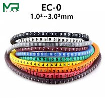 500PCS  EC-0  Colored Cable Wire Marker 0 to 9 For Cable Size 1.5 sqmm Colored