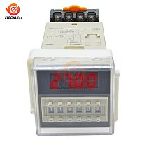 AC 220V DH48S-S Digital Time Delay Relay Timer Programmable Double Relay Switch Socket Base SPDT Repeat cycle time timing relay