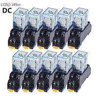 Free Shipping 10set DC 12V 24V  36V 48V 110V 220V  Coil Power Relay LY2NJ DPDT 8 Pin HH62P JQX-13F With Socket Base OK