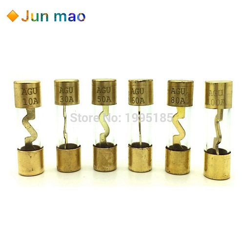 5Pcs 10*38MM Gold Plated Glass AGU Fuse Fuses Pack Car Audio Amp Amplifier 10A 15A 20A 25A 30A 40A 50A 60A 70A 80A 100A Car Fuse