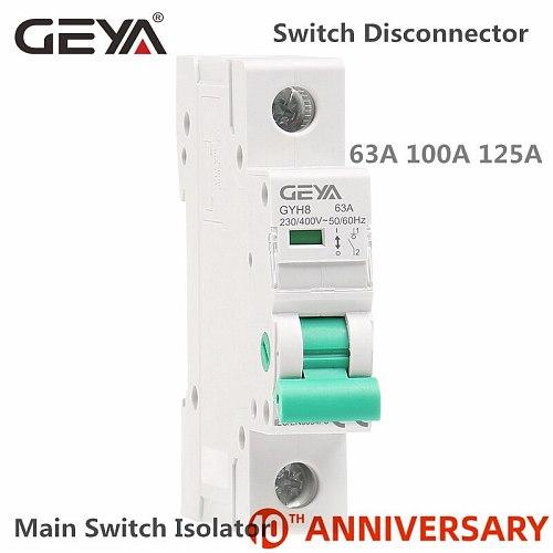 GEYA GYH8 Din Rail Isolator Circuit Breaker 230V/400V Main Switch 63A 100A 125A Isolating switch