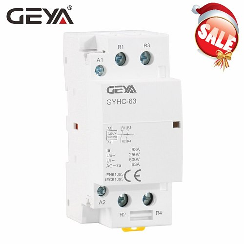 GEYA 2P 40A 63A 2NO or 2NC Modular Contactor DIN Rail Mounting AC220V 230V Automatic