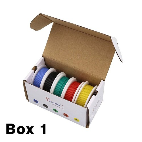 18 20 22 24 26 28 30AWG flexible silicone cable mixing 10 color box 1 + box 2 package wire tinned copper electronic wire DIY