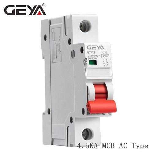 Free Shipping MCB 220V 400V Mini Circuit Breaker C Type with CE CB SEMKO Certificate 4.5KA AC Switch GEYA