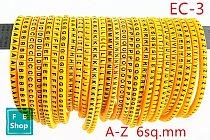 650pcs(each25pcs) EC-3 6sq.mm A-Z ABCDEFGHIJKLMNOPQRSTUVWXYZ English Letter Tube Label Network Wire Cable Marker