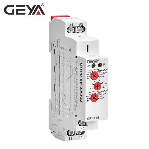 GEYA Over Voltage and Under Voltage Protection Relay DC12V 24V 48V 220V 10A Voltage Protector Relay GRV8-02