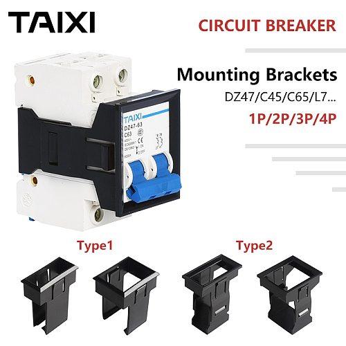 Circuit Breaker Brackets MCB Mounting Base DZ47 C45 C65 L7 Fixed Frame Holes 1P 2 3 4 Poles Black Plastic Rack Miniature